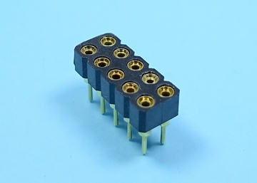 2.54mm SIP SOCKET  Dual Row Round Pin (Gold Plated)