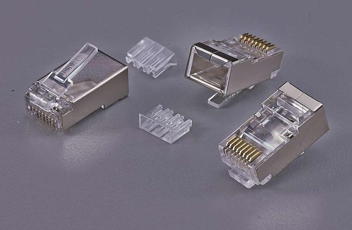 8P8C-F shuelded Plug 2 Layers, 3 pieces with imsert 1.0 mm