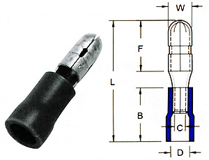 371004 - Bullet-Male Quick Disconntors-PVC Insulated  - YEONG CHWEN INDUSTRIES CO.,LTD.